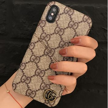 GUCCI Tide brand card couple models iPhone7plus leather protective cover F0708-1 khaki