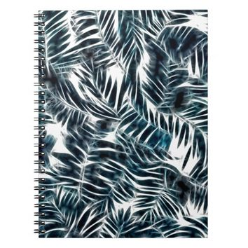 Energetic abstract palm leafs pattern notebook