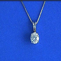 0.90ct Diamond Pendant Necklace on chain 18kt JEWELFORME BLUE
