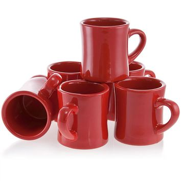 Vintage Diner Coffee Mugs Heavy Duty Set Red