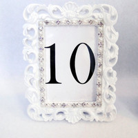 Custom Table Number Frames White with Rhinestone and Pearl Trim You Choose Chalkboard or Custom Printed Shabby Chic Baroque Vintage Gatsby