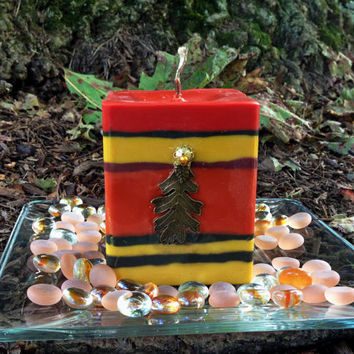 Fall colors soy pillar candle, Deep orange, yellow and brown square soy candle with brass maple leave attached, square soy massive candle