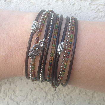 Boho Leather Wrap Bracelet - Silver Picasso Mix Charms Stacking Accessory Multi-Strand Beaded Bracelet