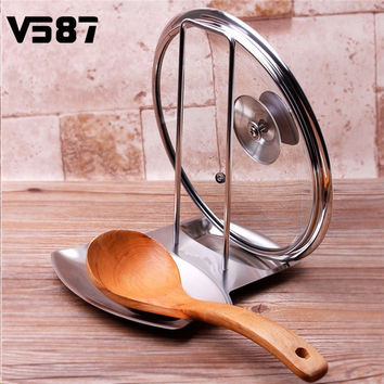Stainless Steel Pan Pot Cover Lid Rack Stand Spoon Rest Stove Organizer Storage Soup Spoon Rests Kitchen Tool