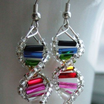 Rainbow Genes  DNA Earrings by toutdoucement on Etsy