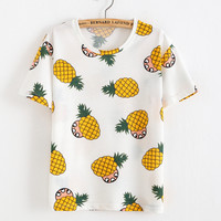 2016 Summer Women Korean Sweet T shirt Fruit Pineapple T-shirt O-neck Casual Short Sleeve Tee Tops Female Tshirt Woman Clothes