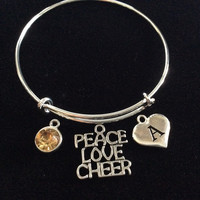 Topaz Heart Letter A Peace Love Cheer Expandable Silver Charm Bracelet Cheerleader Adjustable Wire Bangle Handmade Graduation Gift Trendy