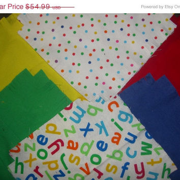 Flannel rag quilt kit  Alpahbet ABCs and dots Primary colors kids fringed die cut fabric squares and batting ready to sew