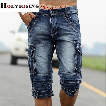 Men cargo shorts home male fashion shorts Washed denim short men jeans shorts