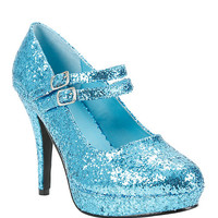 Teal Glitter Mary Jane Heels