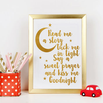Nursery print Home decor Gift idea Gold Nursery Art, Read me a story Tuck me in tight, Baby Nursery Art Print,Gold Kids Décor