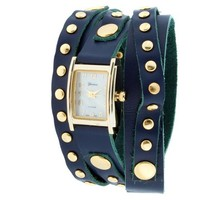 Geneva Platinum 9560 Women's Studded Wrap-around Watch-NBLUE/GLD
