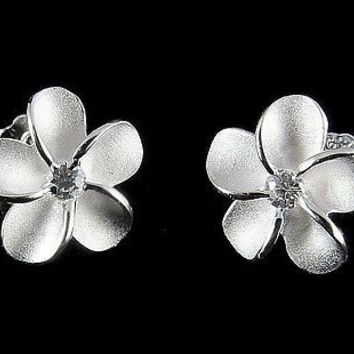 STERLING SILVER 925 HAWAIIAN PLUMERIA TROPICAL FLOWER STUD POST EARRINGS 12MM