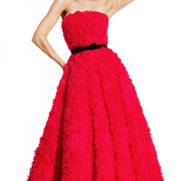 Laser Cut Chiffon Rose Motiff Ball Gown