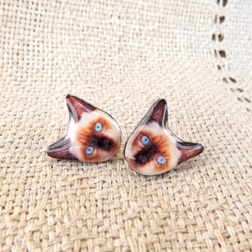 Animal earrings, Cat stud earrings, Stud earrings, Ear stud, Cat earrings, Cat jewelry, Animal jewelry, Tiny earrings, Cat lover