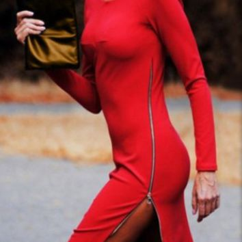 Solid Color Side Zipper-Down Bodycon Dress