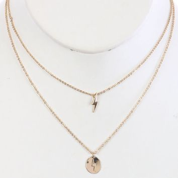 Gold 2Pc Lightning Bolt Charm Chain Necklace