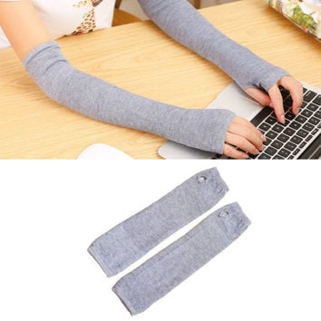 Cheapest 2 color optional Stretchy Long Fingerless Females Gloves Cashmere Blend Arm Warmers Sleeves Fashion Mittens