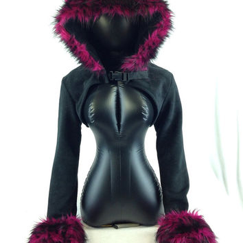 Pawstar WOLF EAR Fur TRIM Hooded Shrug You Pick Color bolero jacket Crop Top Burgundy magenta Purple Blue Red Brown Grey Black Pink 6230