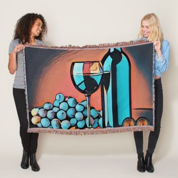 wine grapes still life abstract art throw