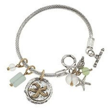 """Women's Nautical """"Rope"""" Sea Life Toggle Bracelet. Silver Ox/worn Gold Plating. Nautical """"Rope"""" Toggle Bracelet with Sea Life Charms. 2-tone Starfish & Sea Shell Charms. Clear, Aqua, and Green Frosted Sea Glass Accents. Toggle Closure; 1 Size Fits Most."""