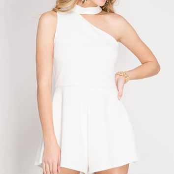 Asymmetrical Halter Romper - Off White