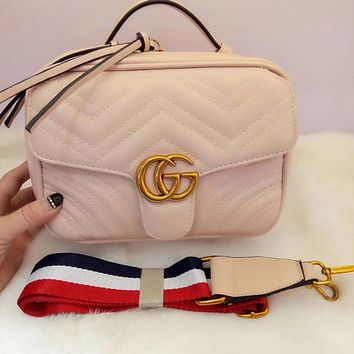 GUCCI Fashion Women Metal G Double Zipper Leather Satchel Shoulder Bag Crossbody Beige I-MYJSY-BB