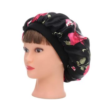 Women New Beauty Salon Cap Night Sleep Cap Head Cover Satin Bonnet Hat For Curly Springy hair chemo cap