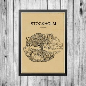 STOCKHOLM CITY World map poster famous abstract world print bar Retro poster cafe decoration pub living room painting 42x30cm