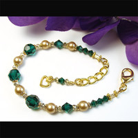 Emerald Green Crystal Bracelet, Gold Pearls, Heart Charm, Adjustable Handmade