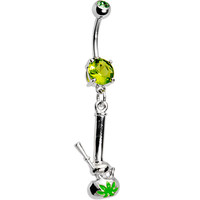 Peridot Green Gem Pot Leaf Bong Belly Ring | Body Candy Body Jewelry