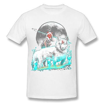 Anime T-shirt graphics Princess Mononoke T-shirt Popular Boy 100% Cotton Tee Shirts Black Round collar Japanese Anime T shirt AT_56_4