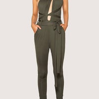 Army Green Multiways Open Back Tie Waist Jumpsuit