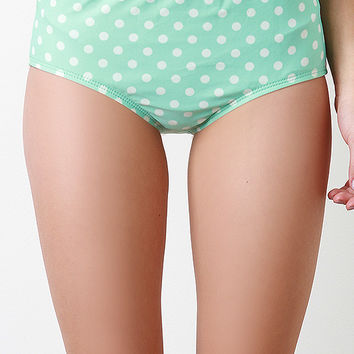 Polka Dot And Bow High Waisted Brief