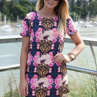 PRIDE & PREJUDICE DRESS , DRESSES, TOPS, BOTTOMS, JACKETS & JUMPERS, ACCESSORIES, SALE, PRE ORDER, NEW ARRIVALS, PLAYSUIT, COLOUR,,Pink,Print,Purple Australia, Queensland, Brisbane