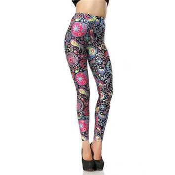 Retro Paisley Art Women's Black Pink & Blue Slim High Waisted Elastic Printed Fitness Workout Leggings