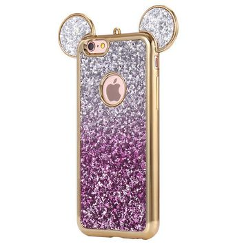 Glittery Bling Micky Mouse Ears Grediant Purple Phone Case For iPhone 7 7Plus 6 6s Plus 5 5s SE