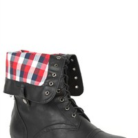 Wide Width Fold Over Combat Boot with Plaid Cuff and Round Toe
