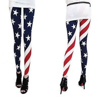 American Flag Pattern Leggings Long Tights Skinny Pant Ships From USA!