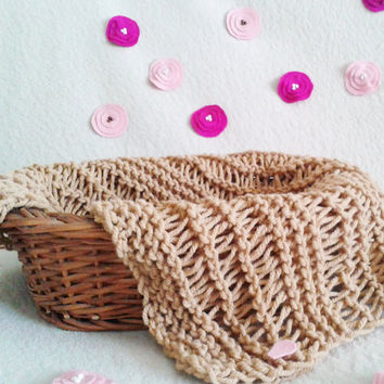 Tan Lace Knit Blanket, Layering Blanket, Baby Photo Prop, Basket filler, Brown Mini Blanket, Baby Wrap Neutral color