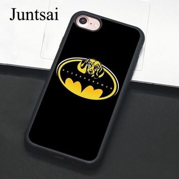 Batman Dark Knight gift Christmas Juntsai Dachshund Dog Batman Cases for iphone 5 5s SE 6 6s 7 8 Plus X Hard Protective Back Cover Case Coque For iphone 7 Plus AT_71_6