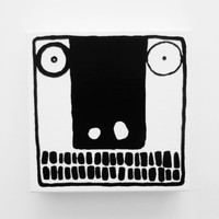 Original Black and White Abstract Painting FACE Urban Art Painting Canvas Geometric Funky Modern Crazy Painting Crazy Art Strange Face Art