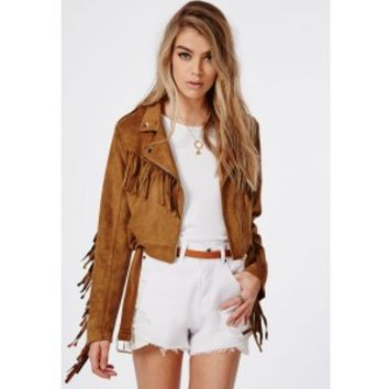 Fringed Faux Suede Biker Jacket Tan - Coats & Jacets - Missguided