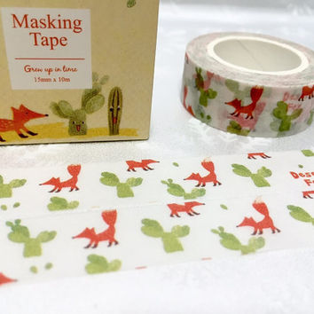 fox washi masking tape 10M little fox animal washi tape Forest animal foxy cactus masking tape removable adhesive masking tape gift wrapping