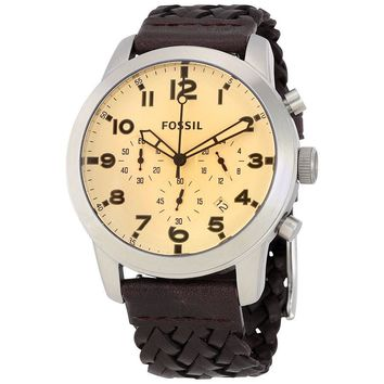 Fossil Pilot 54 Silver Dial Mens Chronograph Watch FS5178