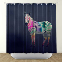 DiaNoche Designs Rainbow Zebra by Monika Strigel Fabric Shower Curtain