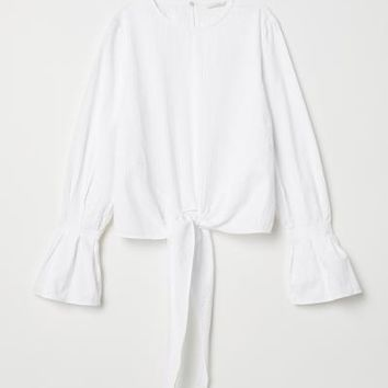 Tie-hem Seersucker Blouse - White - Ladies | H&M US