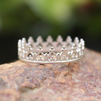 Crown Ring Princess Ring Tiara Stacking Ring 925 Argentium Sterling Silver Game Of Thrones Stackable Handmade