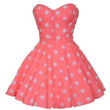 Pin-Up Coral Polka Dot Prom Party Dress | Style Icon`s Closet