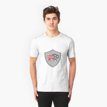 'North American Bison USA Flag Shield Retro' T-Shirt by patrimonio